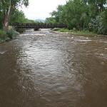 Arkansas River and walk bridge at Canon City