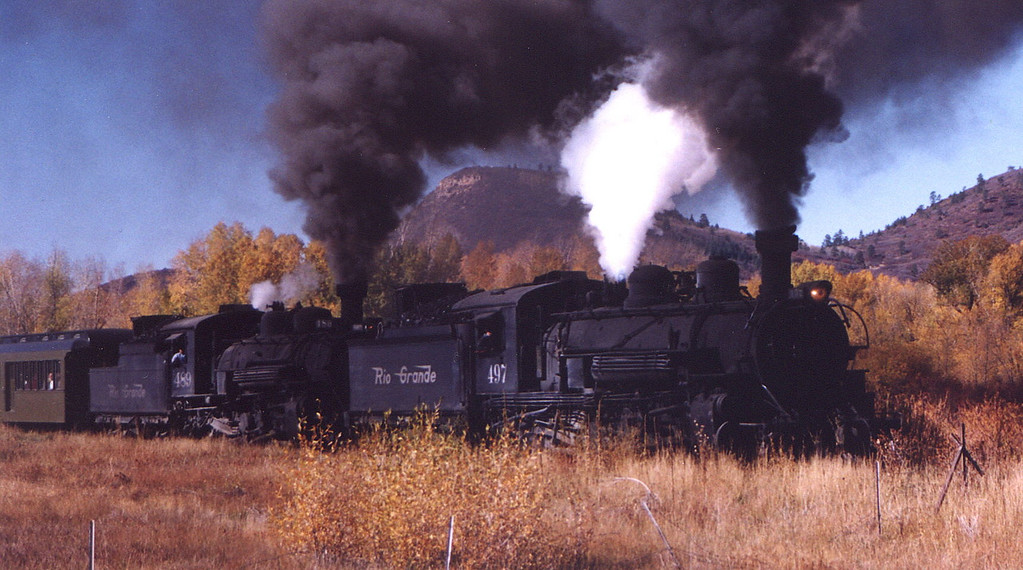 Cumbres & Toltec Scenic Railroad doubleheader leaving Chama, New Mexico